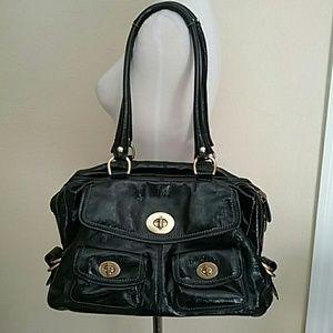 Coach black leather large turn lock purse bag 3051
